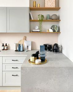Here is another snap of our sweet little kitchen styled in Nat's fave 'blue' colour palette for this season. And for anyone interested... here are the deets from this space: - Cabinetry @kaboodlekitchen custom 2pac painted in @duluxaustralia Milton Moon - Benchtops @caesarstoneau Airy Concrete - Tiles @perinitiles - Tapware @meiraustralia - Appliances @smegaus Happy Sunday lovelies. xxx