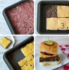 Oven-Baked Cheeseburger Sliders ‿ pounds ground sirloin ‿/4 bread crumbs ‿/4 cup chopped onions ‿/2 teaspoon salt‿ package slider buns‿ slices cheese turn oven to 400 .combine beef bread crumbs onion and salt. press into a 9-by-13-inch pan Use a fork to poke holes in the meat. Bake 30 mins. the meat will shrink away When cooked remove the pan from oven and carefully drain off the liquid layer of cheese