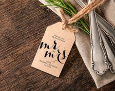 Thank You Wedding Tag, Printable Wedding Thank You Tag, Wedding Printable, Editable Template, Mr and Mrs Printable Template from Bliss Paper Boutique $6.50