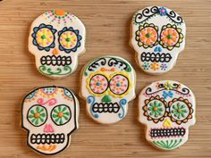 Day of the Dead decorated sugar cookies. Royal icing with coconut lime cookies Davids Cookies, Royal Icing, Sugar Cookies, Lime, Coconut, Desserts, Tailgate Desserts, Limes, Deserts
