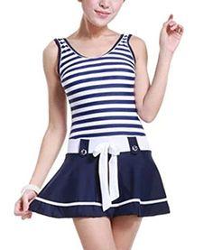 Women's Girls One Piece Monokinis Striped Padded Halter Neck Tankini Beachwear Swimsuit Bathing Swimming Suit Rushed Slim Swim Dress Skorts Swimwear Set - http://todays-shopping.xyz/2016/06/30/womens-girls-one-piece-monokinis-striped-padded-halter-neck-tankini-beachwear-swimsuit-bathing-swimming-suit-rushed-slim-swim-dress-skorts-swimwear-set-2/