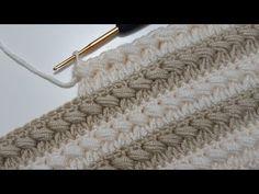 Tığ işi dolgulu örgü modeli / yelek, hırka, atkı, bere modelleri - YouTube Crochet Stitches, Knit Crochet, Crochet Patterns, Needlework, Textiles, Blanket, Knitting, How To Make, Crafts