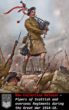 "The Piper of Loos Playing the King's Own Scottish Borderers to the Attack, December ""Daniel Logan Laidlaw VC. Laidlaw was 40 years old, and a Piper in the Battalion, The King's Own Scottish. British Army Uniform, British Uniforms, Military Art, Military History, Ww1 Art, Scottish Warrior, Ww1 Soldiers, Scotland History, World War One"