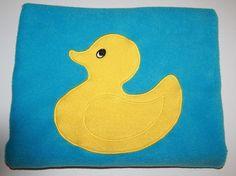 Aqua Blue Fleece Baby Blanket Large Yellow Duck in Center Duckie Security Lovey #DuckieBabyBlanket #FleeceDuckBlanket