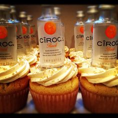 Infused with Peach Ciroc Premium Vodka. Topped with chewy peach fruit candy. And Peach infused frosting Liquor Cupcakes, Drunken Cupcakes, Alcohol Infused Cupcakes, Alcoholic Cupcakes, Alcoholic Desserts, Flavored Cupcakes, Liquor Cake, Alcohol Cake, Peach Cupcakes