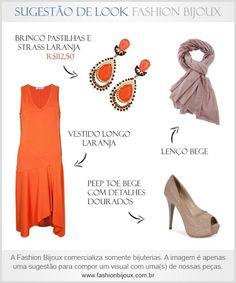 Sugestão de Look: Vestido Longo Laranja + Peep Toe Bege Com Detalhes Dourados + Lenço Bege + Brinco Pastilhas e Strass Laranja (por R$112,50 na Fashion Bijoux). Para comprar, acesse: www.fashionbijoux.com.br