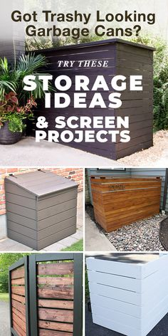 Got Trashy Looking Garbage Cans? Try These Storage Ideas & Screen Projects! - DIY your own garbage can sheds, screens and cover ups using these step by step tutorials. Garbage can storage was never so easy! #garbagecanstorage #garbagecansheds #garbagecanscreen #garbagecancoverups #garbagecans #homeimprovement #hidegarbagecans