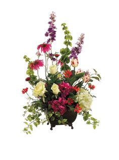 Fresh Spring Mix with Peonies, Rose, Rudbeckia, Cosmos, and Bells of Ireland In A Metal Container at MYHABIT