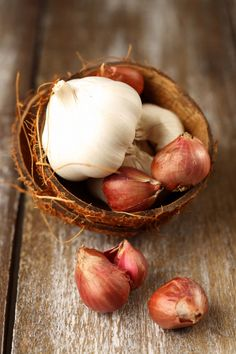 Garlic & shallots. Garlic is a great antioxidant, and can aid in curing the common cold & cough.