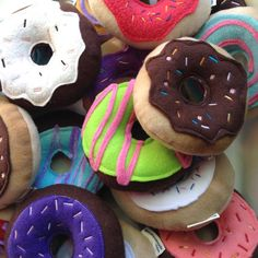 Squeaky Dog Donuts Dog Toys Donuts Set of 2 New Dog Gift from Miso Handmade Shop Small Indie Holiday Emporium Pier 35 Dog Lover Gifts, Dog Gifts, Outdoor Dog Toys, Small Dog Toys, Donut Decorations, Best Dog Toys, Toy Puppies, Dog Chews, Diy Stuffed Animals