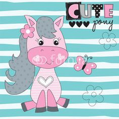 cute pony with butterfly vector illustration