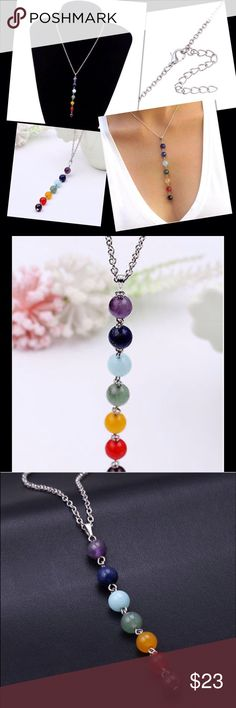 "7 Chakra Necklace Yoga reiki healing balancing necklace. Chakra is 4"" long and necklace is 21 1/2"". Please check out other items in my closet. New! Price Firm Unless bundled Jewelry Necklaces"