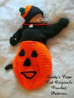 Black Cat Crochet Pattern in a Pumpkin Cocoon by SandysCapeCodOrig, $5.95