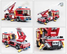 This is a rebuild of 601017 Fire Ladder Truck. I loved the official set but REALLY wanted it to have stabilizers as a play feature. I also narrowed the ladder base and added a bucket. Overall it's less chibi than the original. For more photos, see the full set.