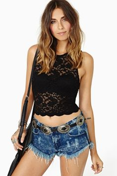 Camille Lace Crop Top - Black