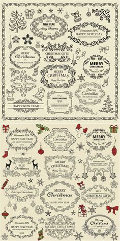 Decorative #Christmas ornate frames #vector