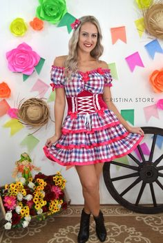 Vestido Xadrez/Pink - Caipira Chic - comprar online Pretty Outfits, Cute Outfits, Cute Dresses, Girls Dresses, Adult Costumes, Dress Codes, Dressmaking, Custom Clothes, Summer Collection