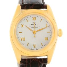 Rolex Bubbleback 18K Yellow Gold Vintage Watch 3131G Box Papers