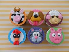 Camping gift ideas [for roadtrip lovers and outdoor freaks] Beach Cupcakes, Kid Cupcakes, Animal Cupcakes, Cop Cake, Cupcake Toppers, Cupcake Cakes, Fondant Dog, Farm Animal Cakes, Farm Animals