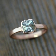 Aquamarine Cushion Gemstone OCEAN Blue in Recycled 14k Rose Gold, Custom Made Engagement or Right Hand Ring