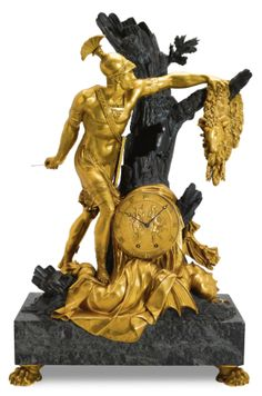 c1810 An Empire ormolu, patinated bronze and green marble mantel clock depicting Jason and the Golden Fleece, Paris, circa 1810 8,000 — 12,000 GBP 12,558 - 18,836USD LOT SOLD. 25,000 GBP (39,243 USD) (Hammer Price with Buyer's Premium)