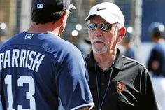 Detroit Tigers former manager Jim Leyland, right, talks with Lance Parrish (13) before a spring training exhibition baseball game against the Baltimore Orioles in Lakeland, Fla., Tuesday, March 3, 2015. (AP Photo/Gene J. Puskar)