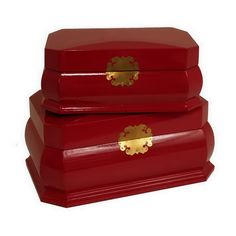 These cherry red boxes with gold accents are super festive for Christmas. Red Storage Box Set | Weekends Only Furniture and Mattress