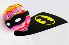 DIY Lollipops Dressed as Super Heroes.
