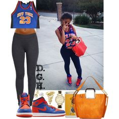 Knicks 23. by dopegenhope on Polyvore featuring polyvore fashion style MICHAEL Michael Kors Champion