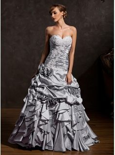 Ball-Gown Sweetheart Floor-Length Taffeta Quinceanera Dress With Appliques  Lace Flower(s. Grey Prom DressLace DressDress SkirtCheap Quinceanera  DressesRobes ... f14fb749799c