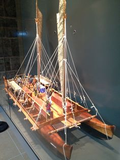 Model of large ocean canoe from Bishop Museum in Honolulu