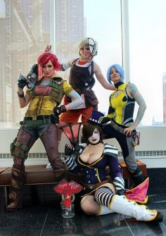 The Women of Borderlands!     Clockwise from left:  Kearstin Nicholson as Lilith (BL1 version)  Fae Lunsford as Tiny Tina (BL2)   Laura Bronkhorst as Maya (BL2)  BelleChere as Mad Moxxi (BL2 version)  Photo by Pat Loika