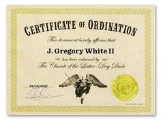 I just got ordained at Dudeism.com!