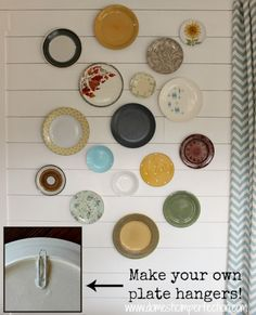 Plate hangers can be expensive, especially if you would like to do a big feature wall. These DIY plate hangers are a great solution!