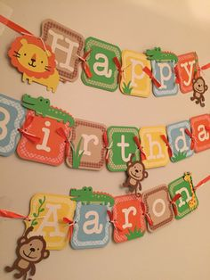 jungle birthday banner, safari birthday banner, zoo party banner! by PartyDecoByRebecca on Etsy https://www.etsy.com/listing/225774409/jungle-birthday-banner-safari-birthday