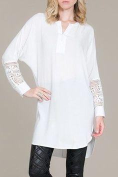 Lace Splicing V Neck Long Sleeve Blouse WHITE: Blouses | ZAFUL