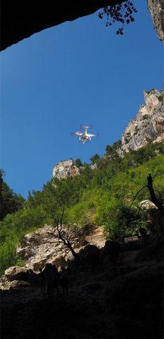 Quadcopter Drone flying into Cave #aerialphotography #drones #uav #uas #rpas #photo #travel #photography #pic #cave #drone #photography #photo