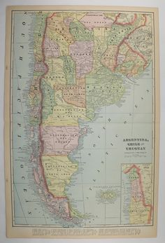 Large Map South America Argentina Map Chile Paraguay Map - Argentina map for sale
