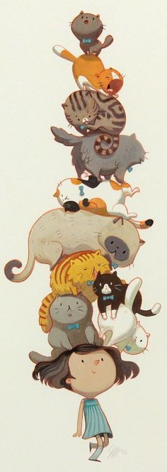 Cats in Art and Illustration: Did You Ever Walk With Ten Cats on Your Head? Illustration Mignonne, Cute Illustration, Crazy Cat Lady, Crazy Cats, Art Mignon, Animation, Cat Drawing, Anime Outfits, Oeuvre D'art