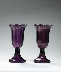 Amethyst pressed glass tulip vases