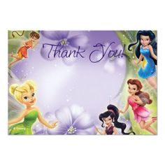 Fairy Birthday Party Tinker Bell and Friends Thank You Cards