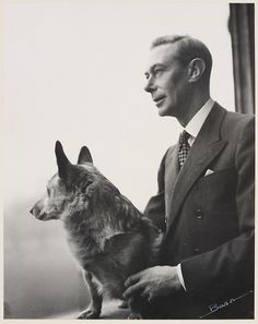 King George VI with one of his corgis. April 1948.