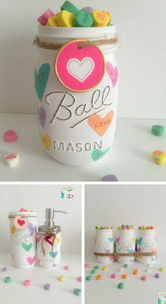 Hand Painted Distressed Valentine-iinspired Mason Jars