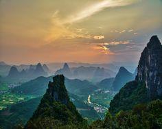 Sunset over Yangshou, China