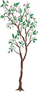Stencil Details for LargeTree with Flowers - ds1450