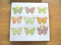 """Butterfly Canvas 12"""" square embroidered on silk. $79,00, via Etsy."""