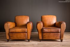 French Club Chairs by William's Antiks | WA26-36 Bayeux Library Pair of Leather French Club Chairs | 1