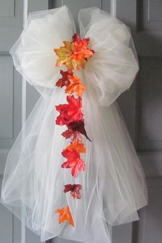 Wedding Bows Autumn Leaves Ivory Tulle Pew by flowerfilledweddings, $15.99