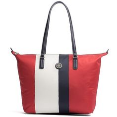 Tommy Hilfiger Signature Medallion Colorblock Tote ($80) ❤ liked on Polyvore featuring bags, handbags, tote bags, beach tote bags, man bag, tote handbags, purse tote and hand bags