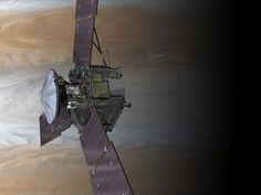 Juno will repeatedly dive between the planet and its intense belts of charged particle radiation, coming only 5,000 kilometers (about 3,000 miles) from the cloud tops at closest approach. (NASA/JPL-Caltech)